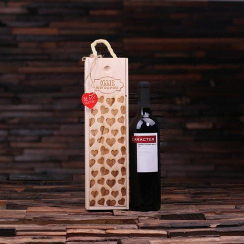 Personalized #Valentine's Day Wood #Wine Box- AD Limited Edition personalized wine box for Valentine's Day with heart gift tag and red shredded packaging paper. Wine box #engraved in a charming heart pattern which is further personalized with a plaque shape design.
