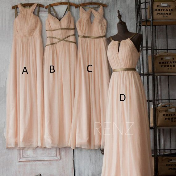 Wedding Dress Party Sleeveless Scalloped A-Line Floor Length Four Style Chiffon Cheap Peach Bridesmaid Dresses Wholesale Price