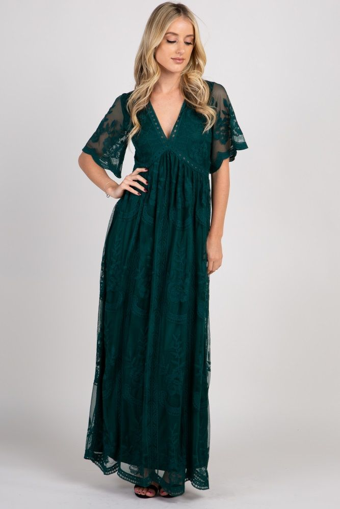 e202828f4f935 Forest Green Lace Mesh Overlay Maxi Dress in 2019 | Fall wedding ...