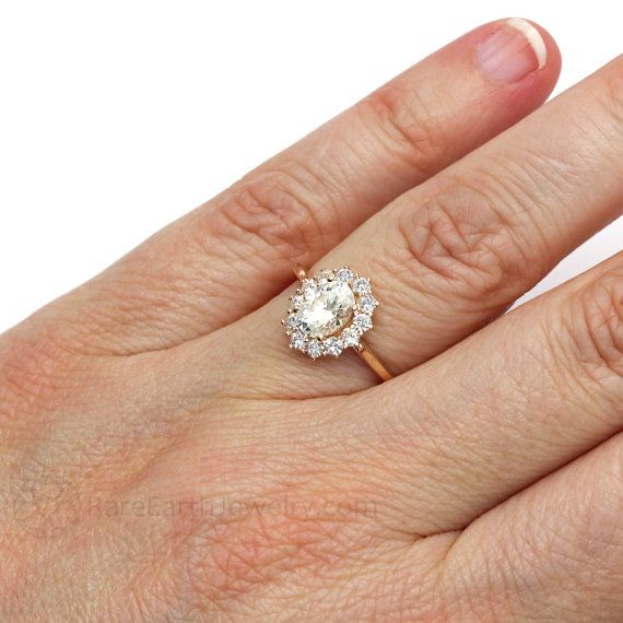18K Cluster Moissanite Engagement Ring Oval Halo by RareEarth