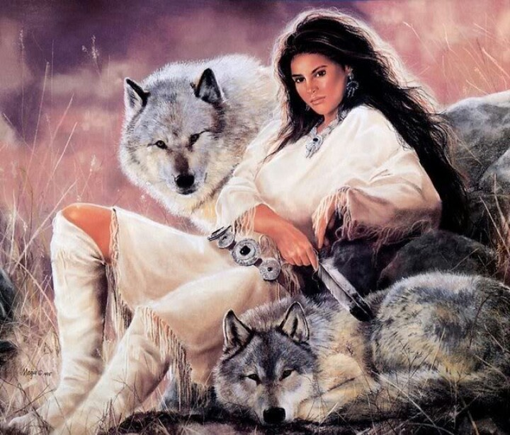 Wolves & Indian Maiden