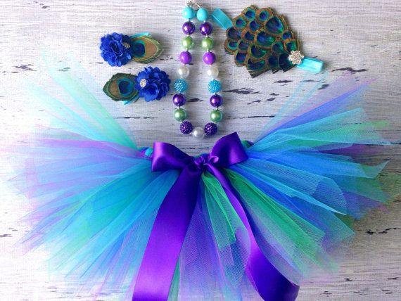 Peacock Tutu Outfit, Peacock Birthday Outfit, Outfit Includes: Tutu, Necklace, Headband, Barefoot Sandals; Sized for any age, Babies - Girl