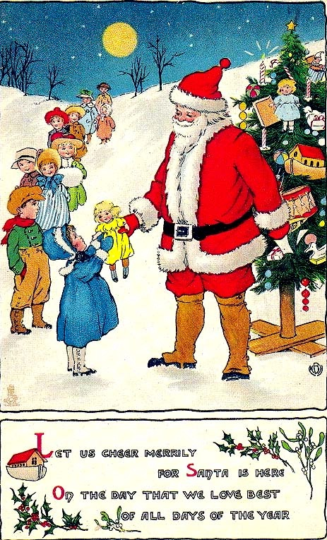 Darling Vintage Santa Christmas Card