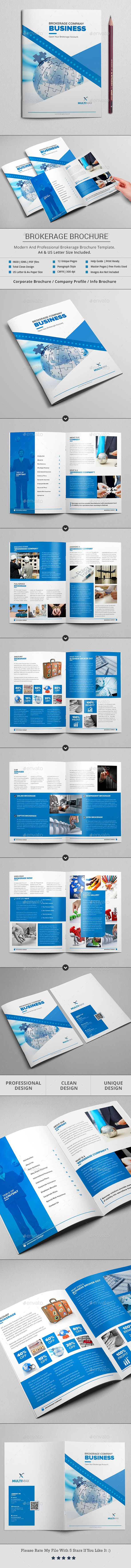Brokerage Business Brochure Design Template (12 Pages) - Brochures Print Templates InDesign INDD. Download here: https://graphicriver.net/item/brokerage-business-brochure-12-pages/18893109?ref=yinkira