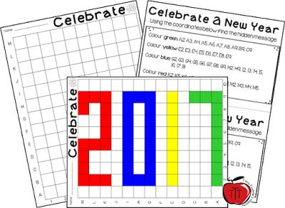 2017 Mystery Grid Freebie  I recently updated my New Years mystery grid activity for 2017! It is a great way for students to practice their grid mapping and find the mystery message.  All you need to do is click on the picture print and go!Cheers 3-5 grids New Year activities Terri's Teaching Treasures