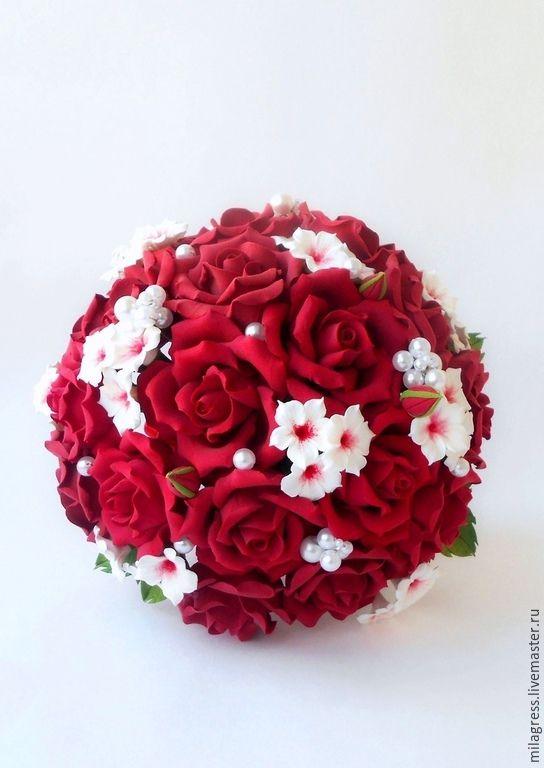 Купить Свадебный букет - ярко-красный, розы ручной работы, глина claycraft decoclay