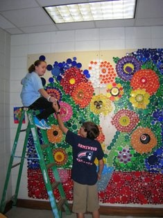 bottlecap art: Mural for art room. If kids from grade 1-4 finish their project they can work on the art wall mural,