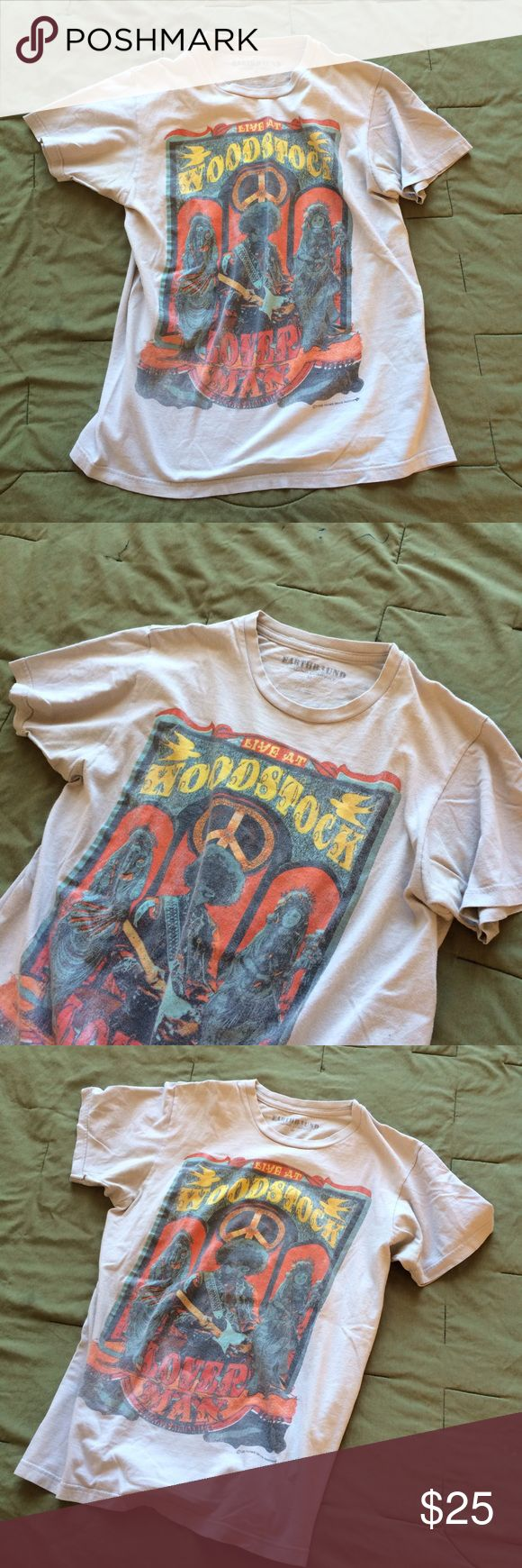 Woodstock Earthbound Trading Company T Shirt! - M Awesome cream colored short sleeve t Shirt with Woodstock Graphic. From Earthbound Trading Company in Austin TX. Great moderately used condition. No stains or rips. Soft comfy t shirt! Size M Earthbound Trading Co Tops Tees - Short Sleeve