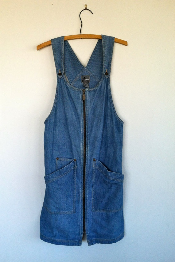 80s/90s light wash Denim Jumper s by WildCreatures on Etsy, $65.00