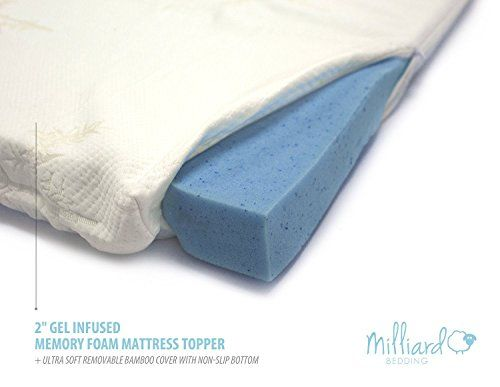 Milliard Gel Memory Foam Mattress Topper 2 Inches Thick With Premium 25 Pound Density And A