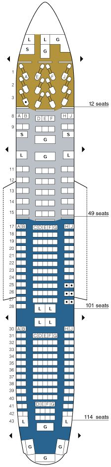 united airlines boeing 777-200 seating map aircraft chart
