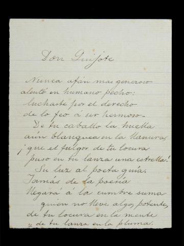 """El original del célebre poema """"Don Quijote"""" de Domingo Rivero, rescatado (Don Quijote)"""