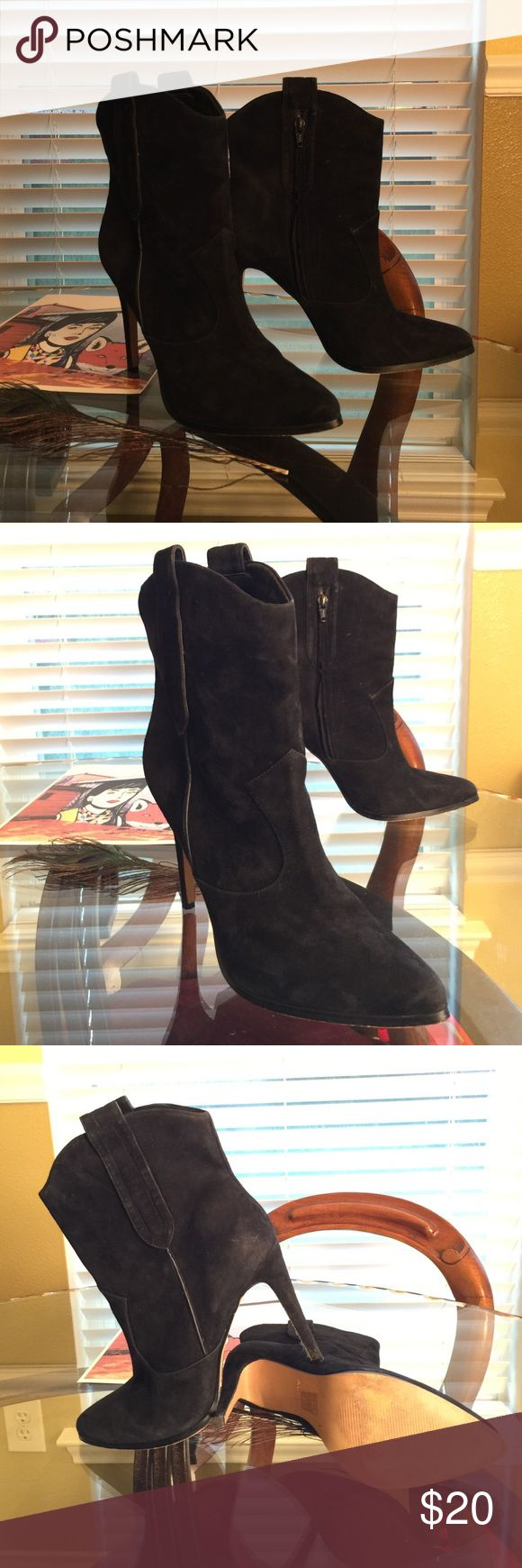 Aldo Black Stiletto Boots These are black Aldo boots leather very hip worn a few times does show a little bit of wear but still look great. Aldo Shoes Heeled Boots
