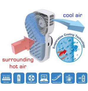 Battery Powered Extra Cool Evaporation Technology Cooling Fan Provides Up To 25 Degrees Cooler Air... http://batterysavers.com/small-portable-airconditioner.html