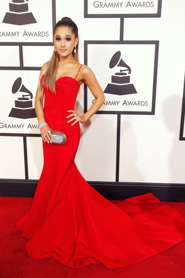Ariana Grande crushed the red carpet in Roma Red! | Romona Keveža | 2016 Grammys | Red Carpet Fashion | Adriana Grande | Designer Gowns
