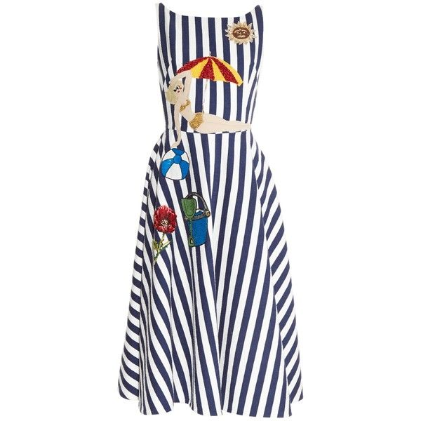 Dolce & Gabbana Seaside-embellished striped dress ($2,928) ❤ liked on Polyvore featuring dresses, blue multi, white cotton dress, stripe dress, blue cotton dress, cotton dress and sparkly dresses