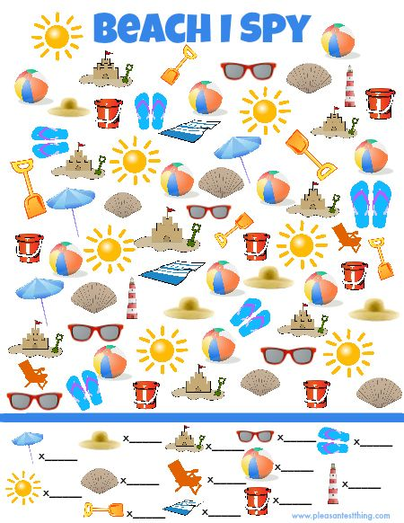 "Beach ""I Spy"" Game (free; from The Pleasantest Thing)"