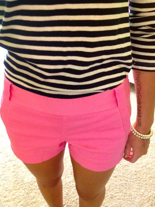 Striped Top and Pink Shorts. This is the perfect summer outfit. Would look really cute with gold sandals and accessories.