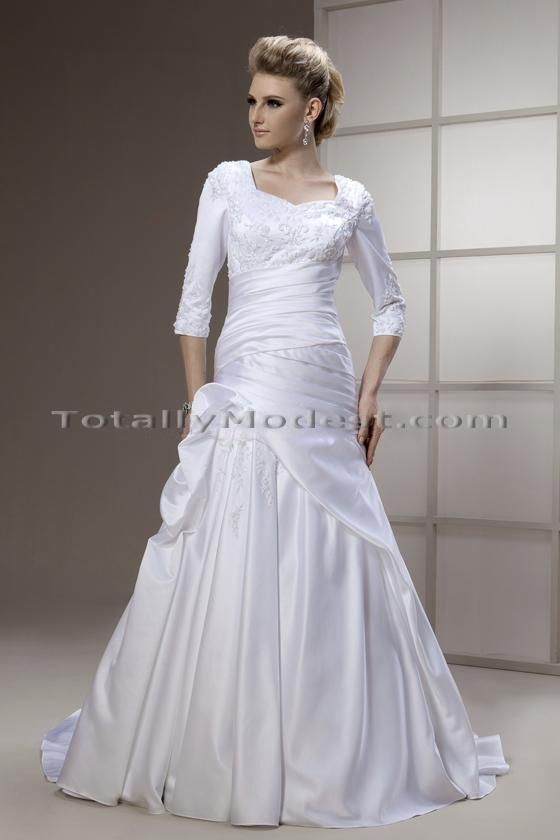 46 best modestly wed images on pinterest bridal gowns for Wedding dress with swag sleeves