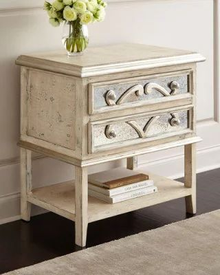 H8L43 Lynley Mirrored-Accent Nightstand