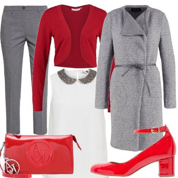 Outfit+caratterizzato+dall'accostamento+dei+colori+rosso+e+grigio.+Pantaloni+a+vita+alta+color+grigio+melange+abbinati+a+top+bianco+con+colletto+peter+pan,+cardigan+rosso+corto+e+cappotto+classico+grigio+melange+con+cintura+in+vita.+Per+gli+accessori+ho+scelto+mary+jane+a+punta+tonda+in+vernice+color+ciliegia+e+borsa+a+tracolla+rossa+in+vernice.