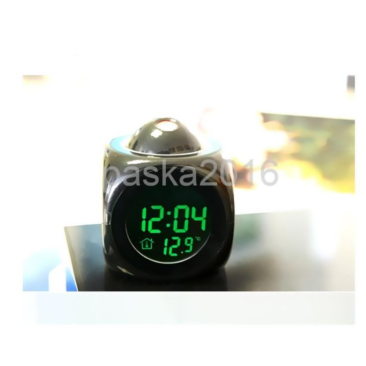 Black Multi-Function Led Projection Alarm Clock Temp Display Voice