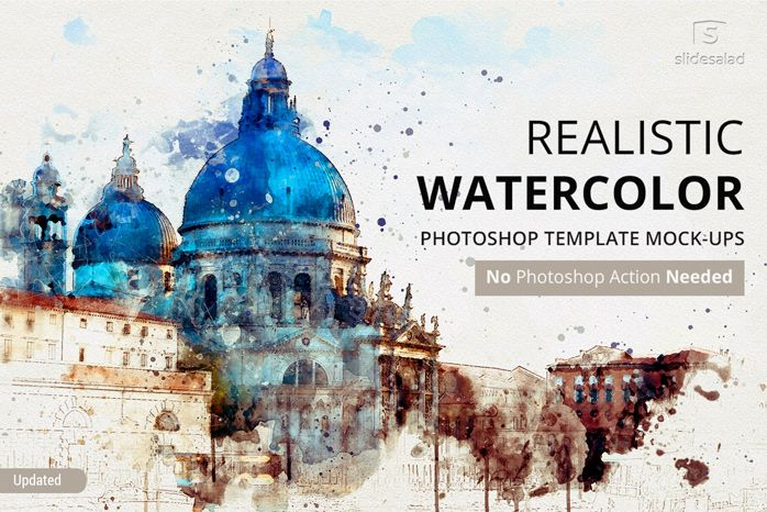 Realistic Watercolor Photoshop Template Mock Ups Watercolor