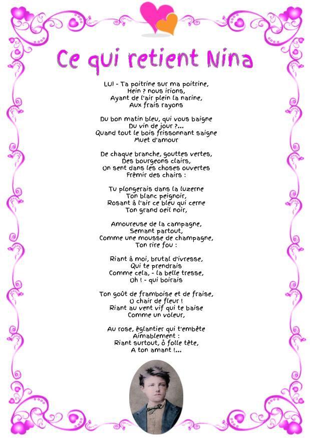 Ce Qui Retient Nina Arthur Rimbaud Poesie D Amour Amour