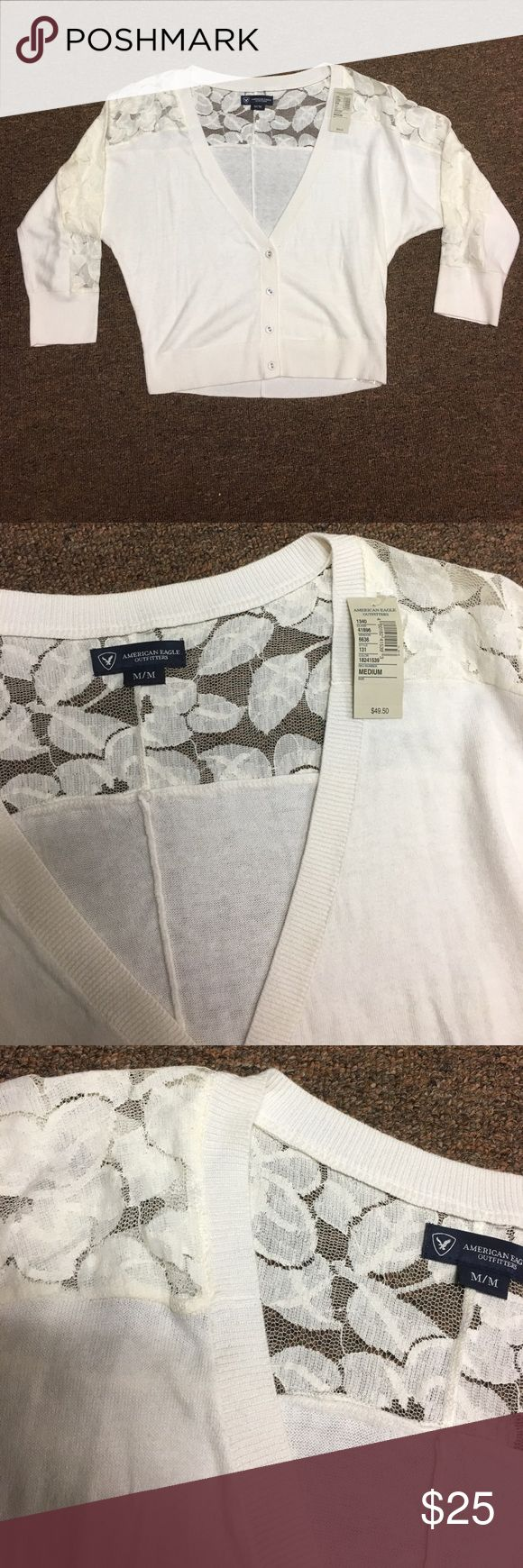 American Eagle Crop Top Cardigan BRAND new with tags!! American Eagle Ivory (cream) crop Top Cardigan!! The top half of the 3/4 sleeves are a nice Lace (see photo) very very cute for casual or going out! American Eagle Outfitters Sweaters Cardigans