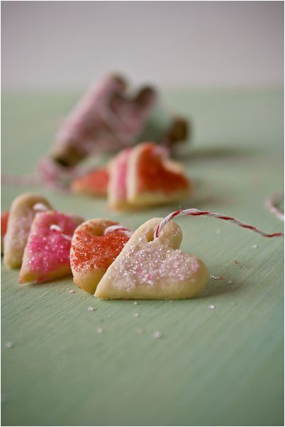 sugar cookie hearts on bakers stringValentine Cookies, Sugar Cookies, Cookies Gift, Valentine Day, Cookies Heart, Heart Cookies, Food, Cookies Recipe, Cookies Bracelets