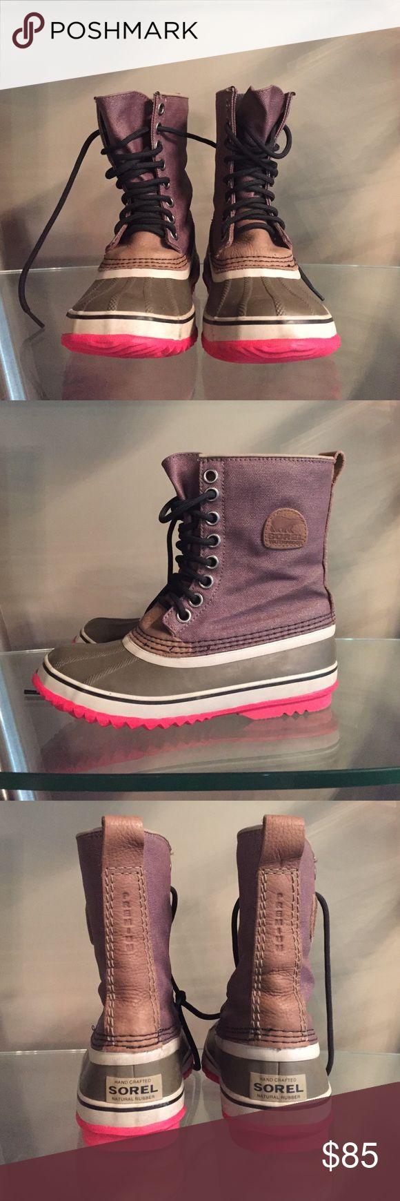 SOREL Premium Waterproof Winter Duck Boots 6 SOREL Premium Waterproof Winter Duck Boots 6. Fossil color with pink soles. Great condition! Black laces. Women's size 6. Sorel Shoes Winter & Rain Boots