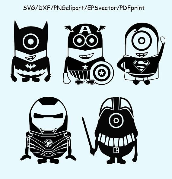 Minion Superhero Birthday Party Cutting Files Iron Man Captain America Silhouette Cameo Superman Stencil Art Stenciling