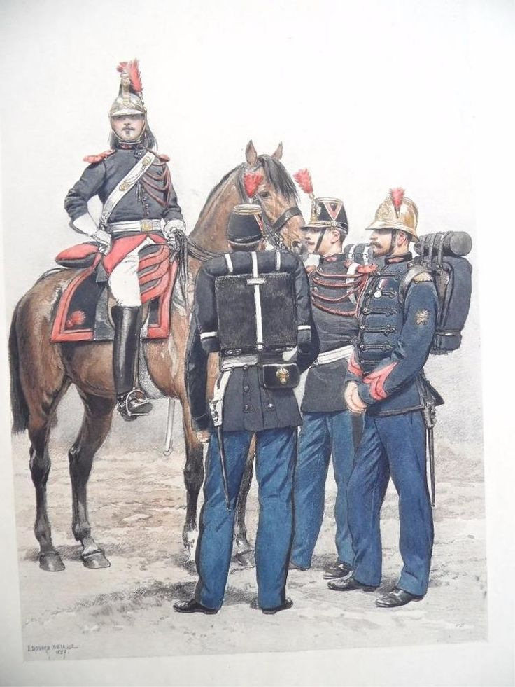 SERGEANTS SOLDIERS French Army 1800's Edouard Detaille Original Color Print 12 #Vintage