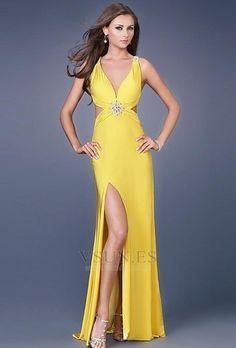 Vestido de fiesta sexy Hasta el suelo Amarillo Corte Recto Gasa Escote en V