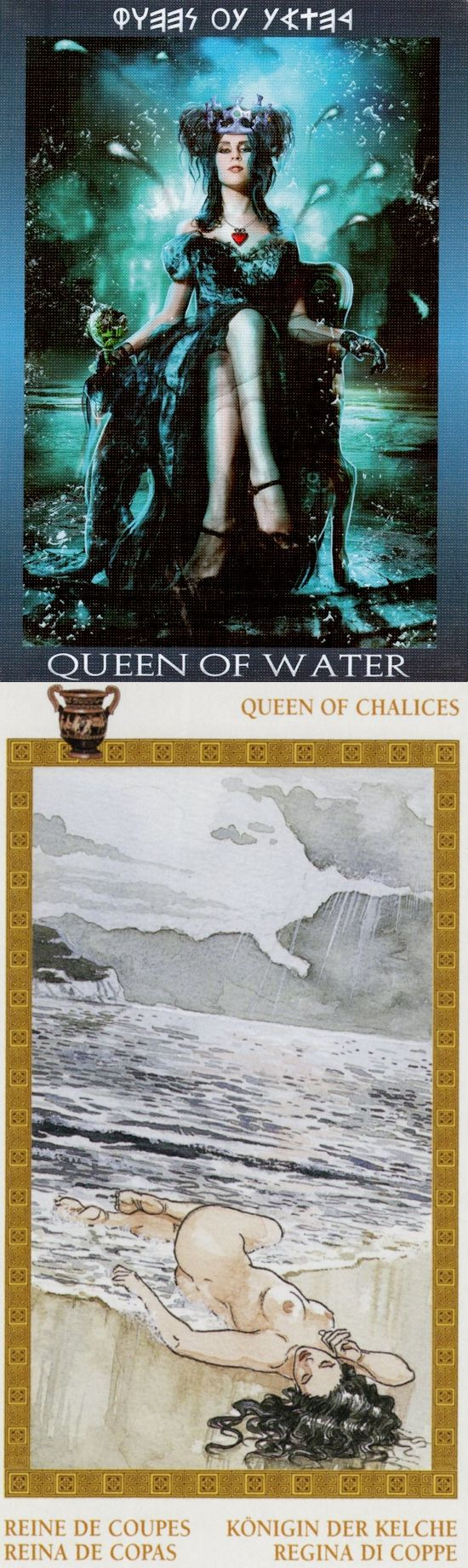 Queen of Cups: nurturing and cold (reverse). Ibiza Tarot deck and Olympus Tarot deck: japanesetarot, free on line tarot card reading and free angel card reading yes or no. The best oracles woman and cartomancy meanings playing cards. #androidgame #wicca #swords