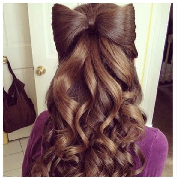 Cute Girls Hairstyles: Brown Curly Hair With Bow Made By Hair!! Real Cool Style