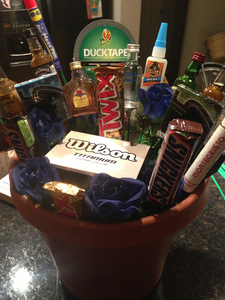 """Bro-quet"".. The mans bouquet! Shooters, flask, cigars, money clip, golf balls, duck tape, super glue, candy bars, jerky, and a Home Depot gift card.. What more could a guy want?"