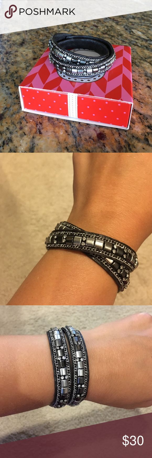 Stella and Dot Cady Wrap Silver Stella and Dot Cady Wrap bracelet-silver. Size M/L. Band is black lamb skin. Hand embroidered and beaded. New With Box. Stella & Dot Jewelry Bracelets
