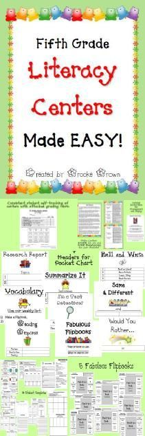 Brand new Common Core aligned Fifth Grade Literacy Centers in an engaging menu format that you can use ALL YEAR LONG!