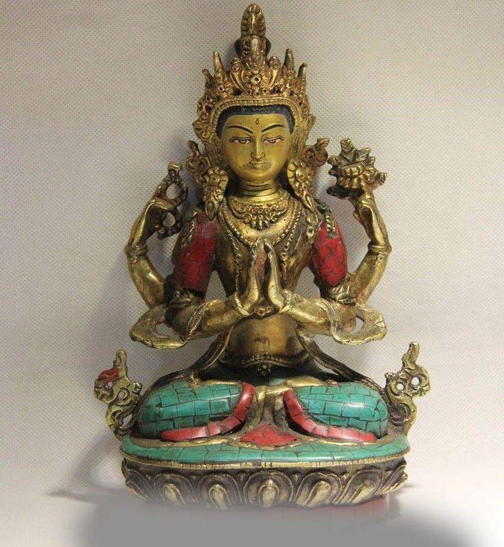 Тибет Буддизм Медь Инкрустация Бирюзовый Рубин Берилл Коралловый Четыре Руки Гуаньинь кван юн