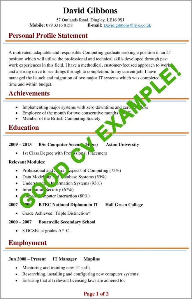 Cv Examples Example Of A Good Cv Biggest Mistakes To Good Cv Cv Examples Basic Resume Examples
