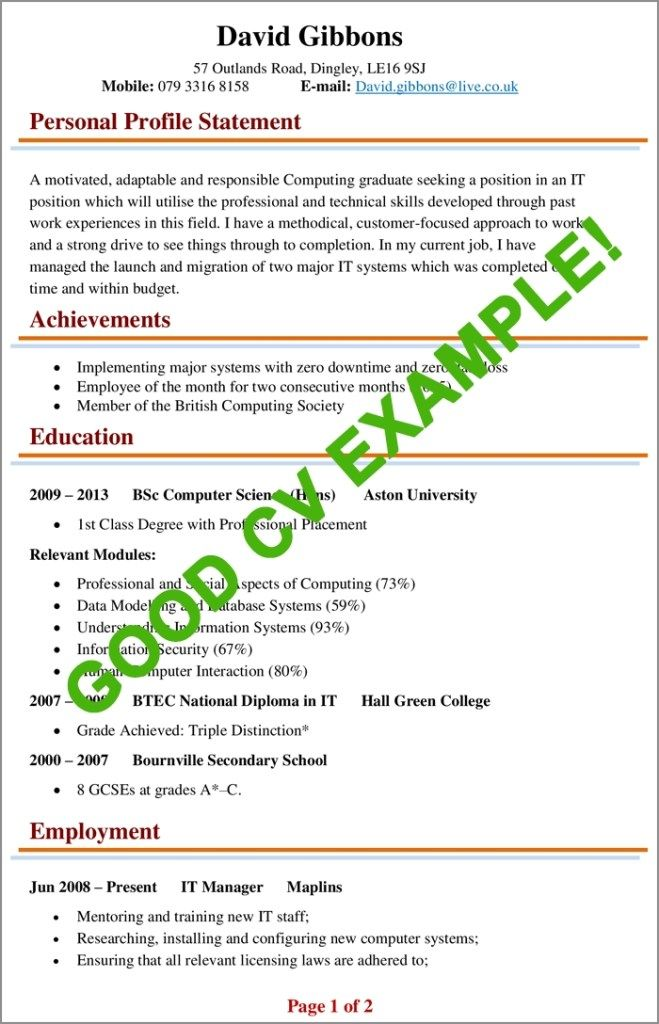 Cv Examples Example Of A Good Cv Biggest Mistakes To Good Cv Cv Examples Writing A Cv