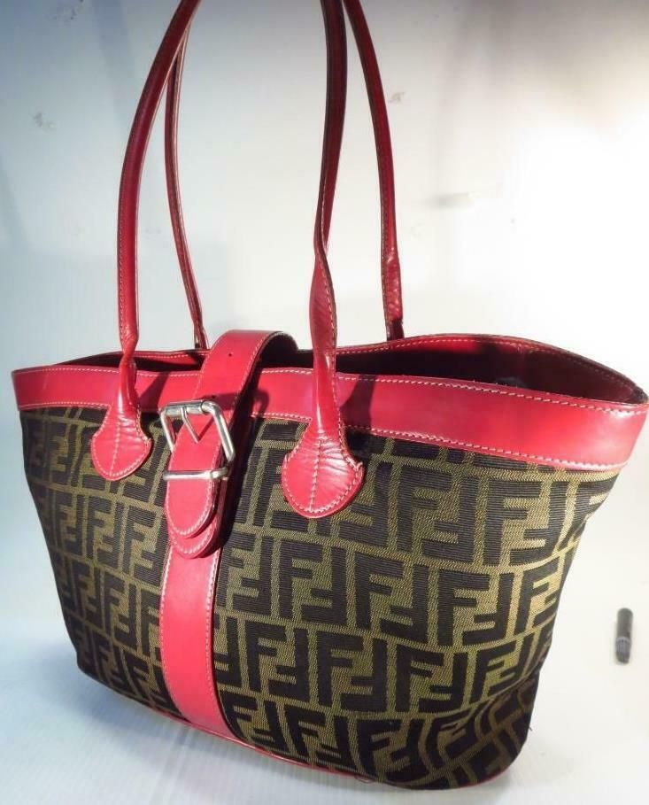 e800e3f9ab Fendi Red Zucca Buckle Tote Shoulder Bag * #Fendi #ShoulderBag   Vintage  Classics Purses in 2019   Bags, Fendi, Shoulder Bag