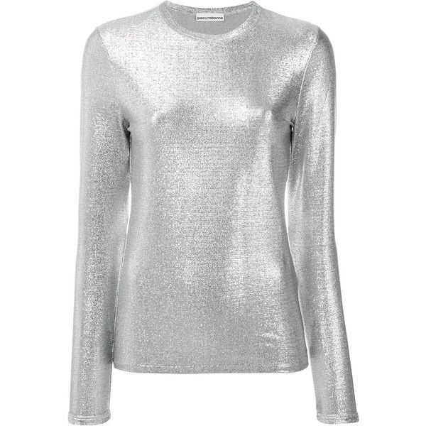 Paco Rabanne metallic long-sleeve T-shirt ($200) ❤ liked on Polyvore featuring tops, t-shirts, grey, grey tee, grey t shirt, gray long sleeve t shirt, silver metallic top and gray t shirt
