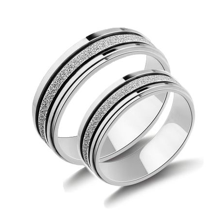 frosted silver titanium wedding rings - Hypoallergenic Wedding Rings