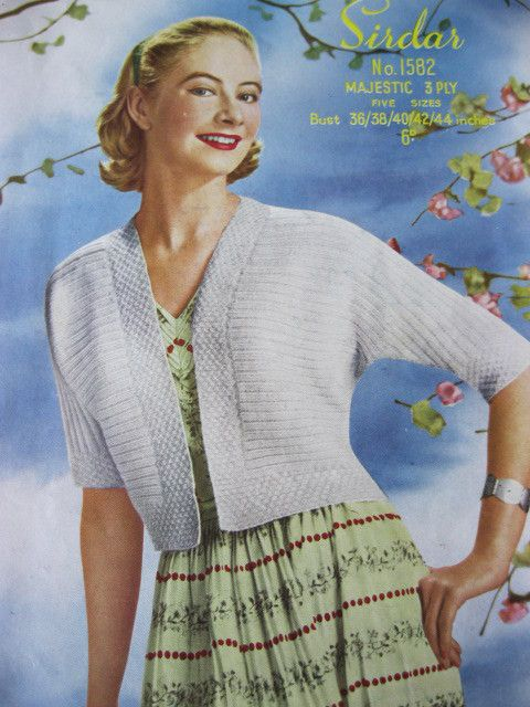 Vintage 1950's sirdar knitting pattern 1582 ladies bolero bust 38 - 44""