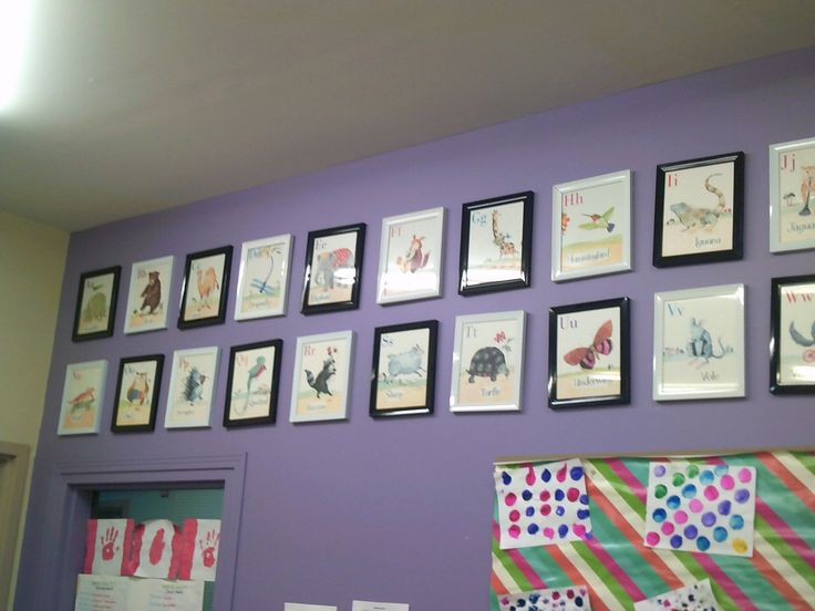 Merrickville Day Nursery School- This framed alphabet display in this school age program shows that alphabet and educational décor can be presented tastefully without being overwhelming.