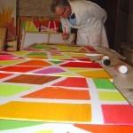 Pascal Minguet peintre résident à Ladoix-Serrigny depuis deux ans, exposera ses toiles, inspirées par la «montagne» de Corton et les climats de Bourgogne, au Carrousel du Louvre à Paris.