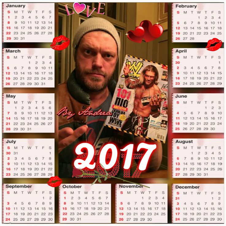 my 2017 calendar with my Adam holding my autograph i can't wait use it