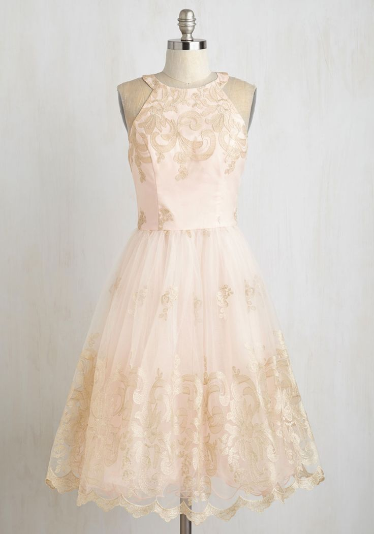 Eloquent Admirer Dress - Knit, Tulle, Blush, Solid, Embroidery, Special Occasion, Fit & Flare, Sleeveless, Gold, Prom, Party, Homecoming, Fairytale, Pastel, Better, Long, Bride